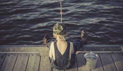 little boy fishing in eminence